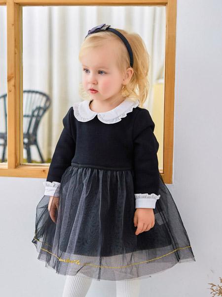 可拉·比特童装品牌2020秋冬娃娃领黑色网纱连衣裙