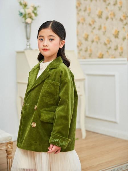 田果果童装品牌2020秋冬绿色细腻毛绒外套