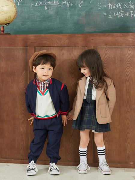 田果果童装品牌2020秋冬藏蓝色外套男童卡其色外套园服