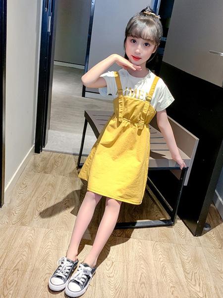 慕琛童装品牌2020春夏新款中大童女童假两件连衣裙