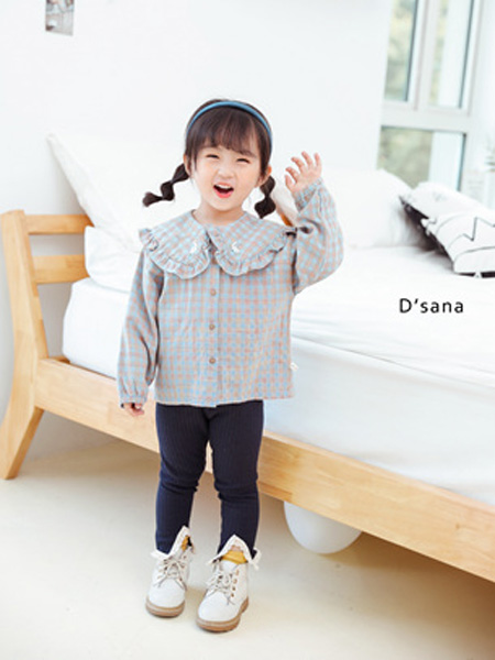 蒂萨纳D`sana童装品牌2020秋灰蓝色格纹荷叶领衬衫