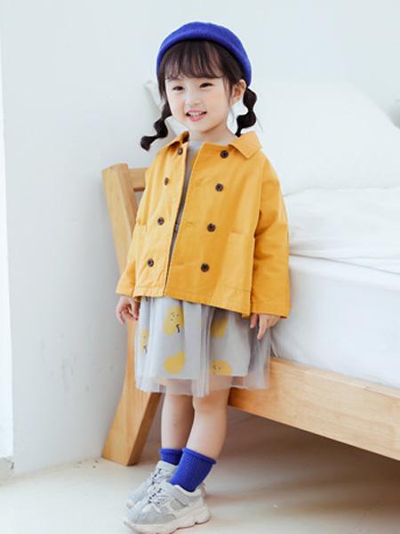 蒂萨纳D`sana童装品牌2020秋黄色翻领衬衫双排扣