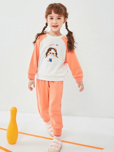 快乐精灵童装品牌2020秋冬橙色休闲套装