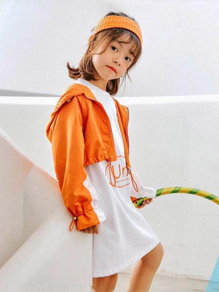 快乐精灵童装品牌2020秋冬连帽橙色短外套