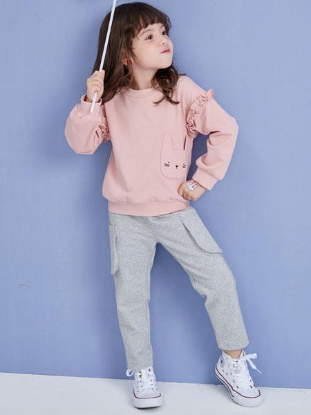 快乐精灵童装品牌2020秋冬粉色上衣灰色长裤