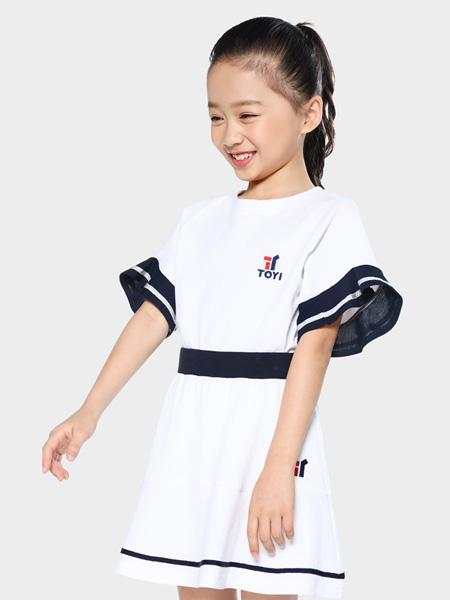 TOYI童装品牌2020春夏黑边白色连衣裙