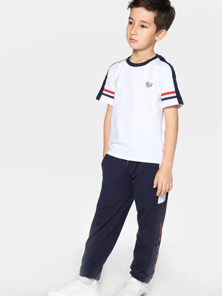 TOYI童装品牌2020春夏白色黑边T恤