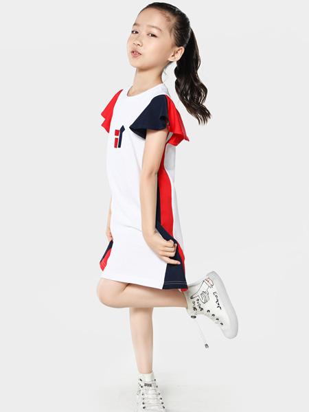 TOYI童装品牌2020春夏修身白色连衣裙
