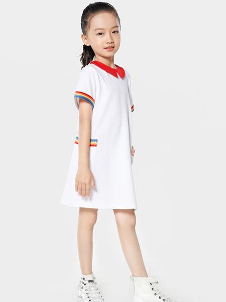 TOYI童装品牌2020春夏红色翻领白色连衣裙