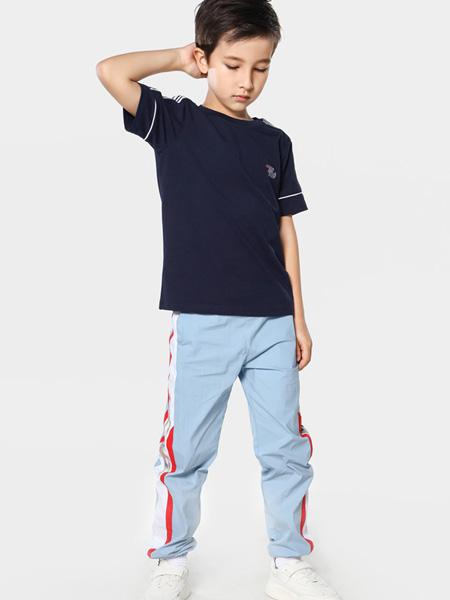 TOYI童装品牌2020春夏圆领藏蓝色T恤