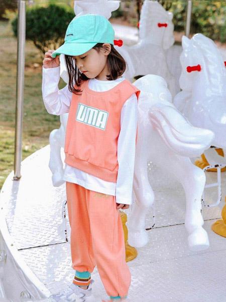 快乐精灵童装品牌2020秋冬字母橘粉色套裙