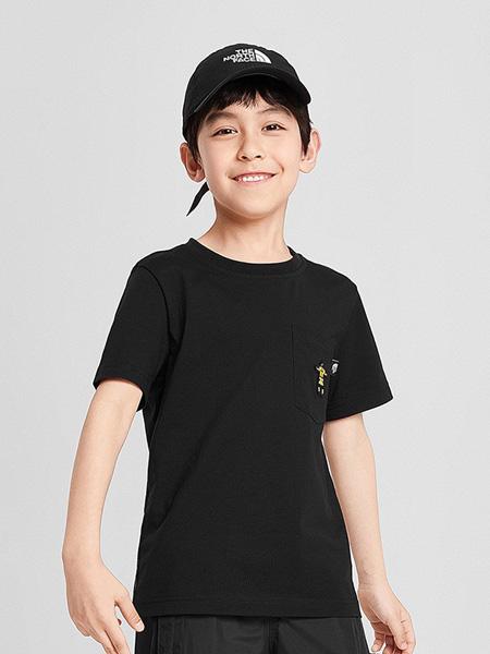 北面运动装童装品牌2020春夏圆领黑色T恤