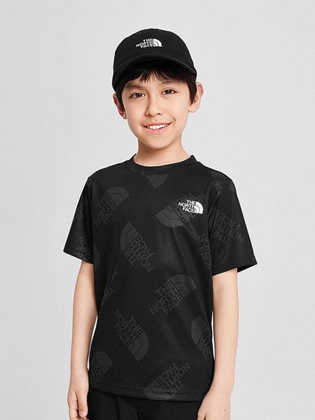 北面运动装童装品牌2020春夏字母黑色T恤