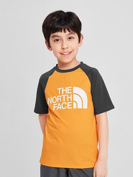 北面运动装童装品牌2020春夏字母橙色T恤