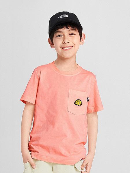 北面运动装童装品牌2020春夏粉色圆领T恤