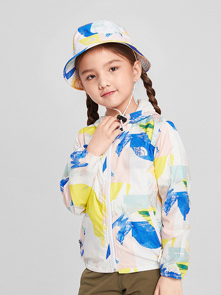 北面运动装童装品牌2020春夏连帽白色外套