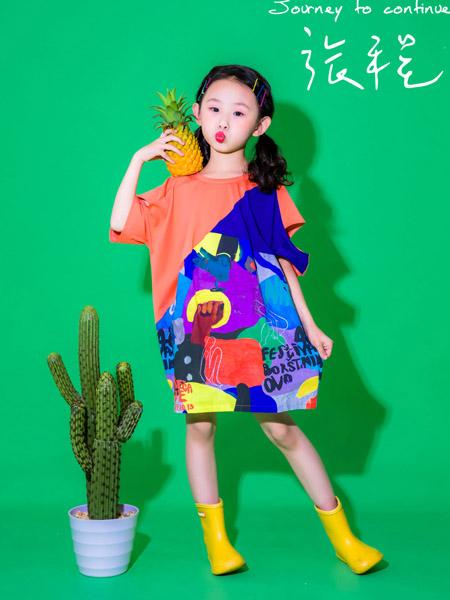 NNE&KIKI童装品牌2020春夏圆领桔红色连衣裙