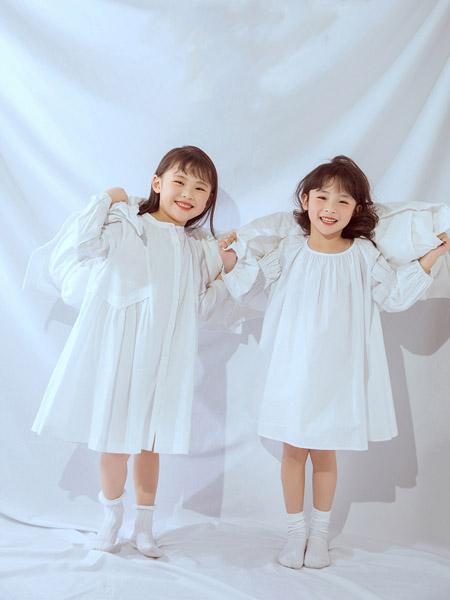 NNE&KIKI童装品牌2020春夏圆领白色连衣裙