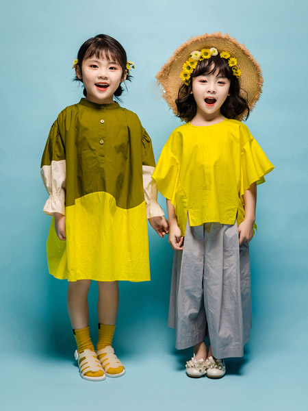NNE&KIKI童装品牌2020春夏绿色连衣裙中长款衬衫