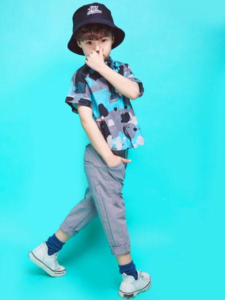 NNE&KIKI童装品牌2020春夏蓝色印花衬衫
