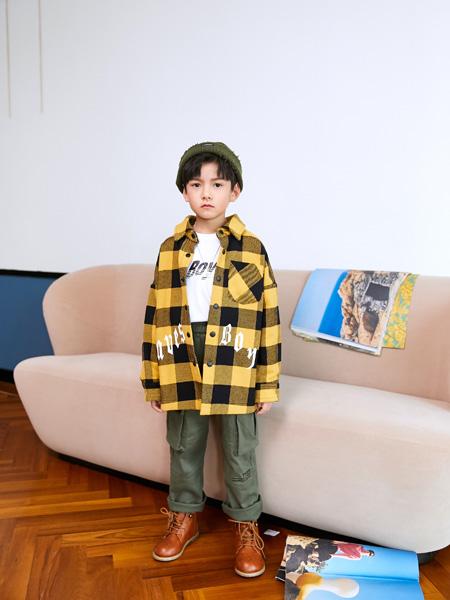Outride越也童裝品牌2020秋冬格子加絨襯衫