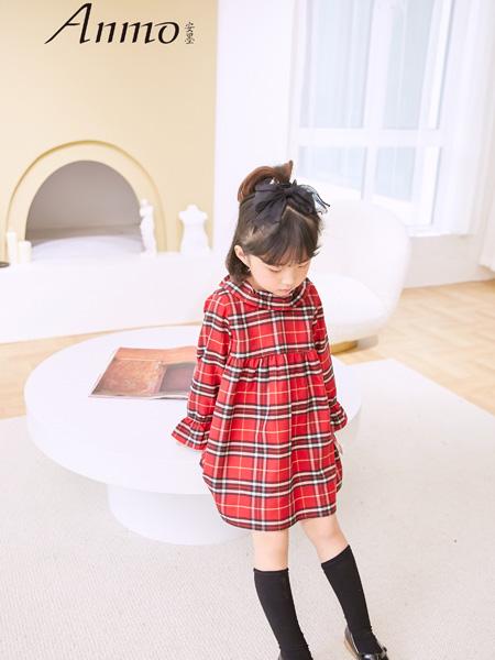 安墨Anmo童装品牌2020秋冬红黑格衬衫裙