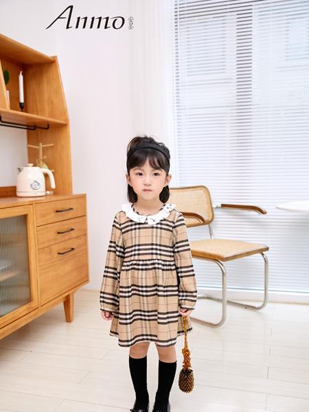 安墨Anmo童装品牌2020秋冬黄黑格衬衫裙