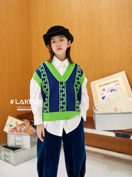 拉酷儿童装品牌2020秋冬V领深蓝色绿色针织背心