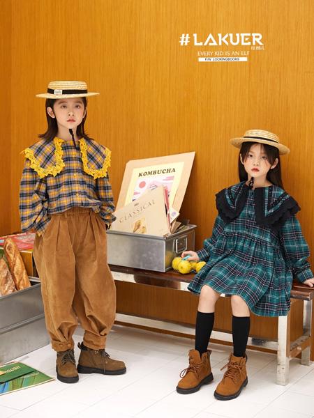 拉酷儿童装品牌2020秋冬绿色大格纹荷叶边连衣裙
