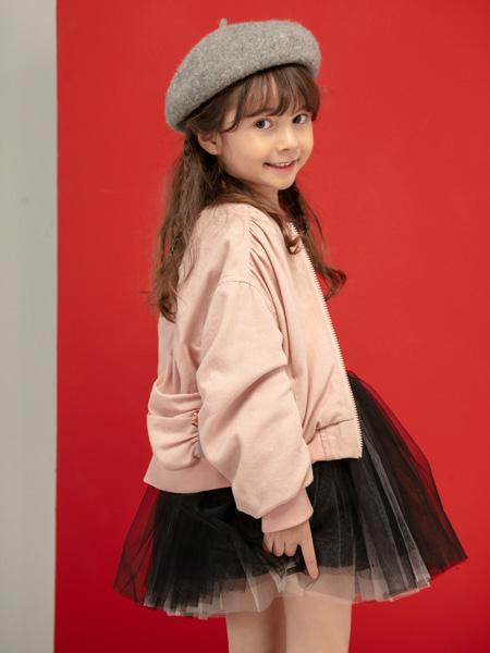 宝贝传奇童装品牌2020秋冬粉色长袖上衣网纱短裙