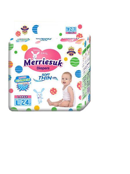 merriesuk婴童用品merriesuk芯体纸尿裤L码24片(9~14kg)