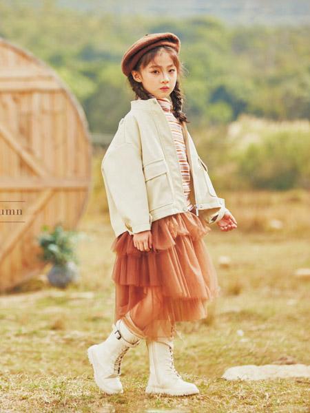 彩色笔童装品牌2020秋冬米色短外套网纱裙