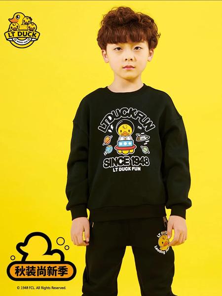 小黄鸭青少年童装品牌2020秋冬字母黑色套装