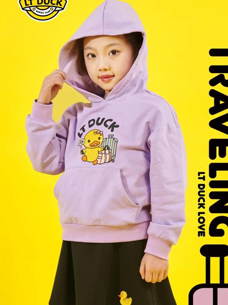 小黄鸭青少年童装品牌2020秋冬紫色连帽卫衣