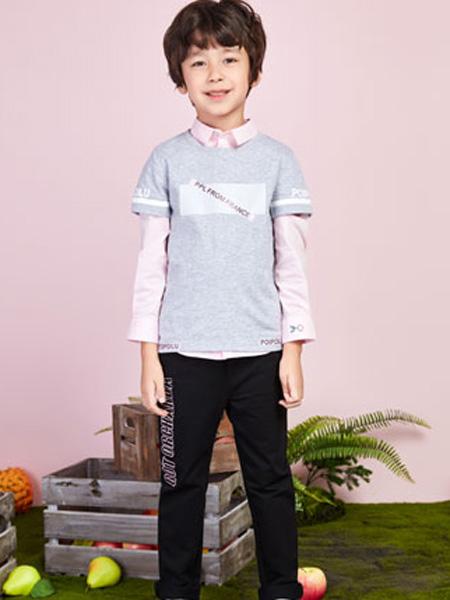poipoilu(泡泡噜)童装品牌2020春夏灰色T恤