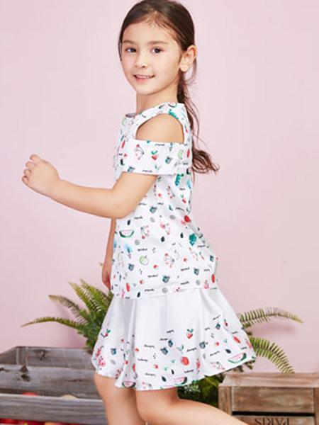 poipoilu(泡泡噜)童装品牌2020春夏露肩白色连衣裙
