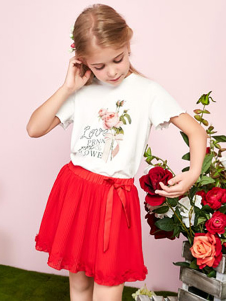 poipoilu(泡泡噜)童装品牌2020春夏白色T恤大红色短裙