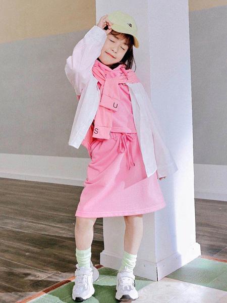 快乐精灵童装品牌2020秋冬白色短外套粉色套裙