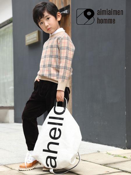艾米艾门童装品牌2020秋冬大格纹浅粉色针织卫衣