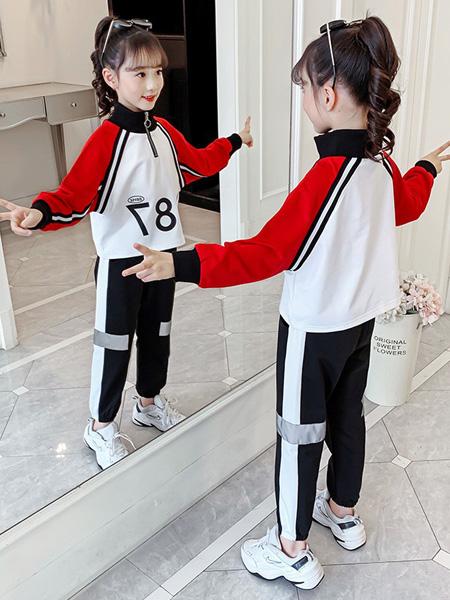 芊芊天使童装品牌2020秋冬白色红色字母卫衣