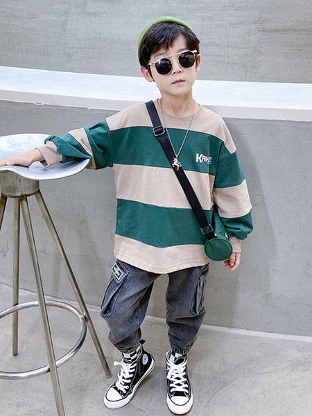 宝贝亨亨童装品牌2020秋冬青色横纹卫衣
