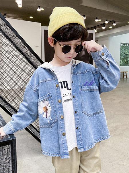 宝贝亨亨童装品牌2020秋冬浅蓝色连帽外套