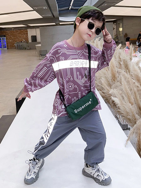 宝贝亨亨童装品牌2020秋冬紫色卫衣