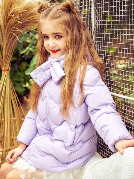 水孩儿souhait童装品牌2020秋冬紫色保暖外套