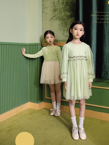 德蒙斯特童�b品牌2020秋冬�A�I�G色�W��B衣裙