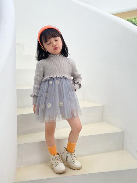 哈沐童装品牌2020秋冬灰色长袖毛衣针织衫