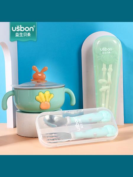 益生贝美婴童用品宝宝辅食碗防摔防烫婴儿碗勺套装不锈钢儿童餐具学吃饭训练吸盘碗