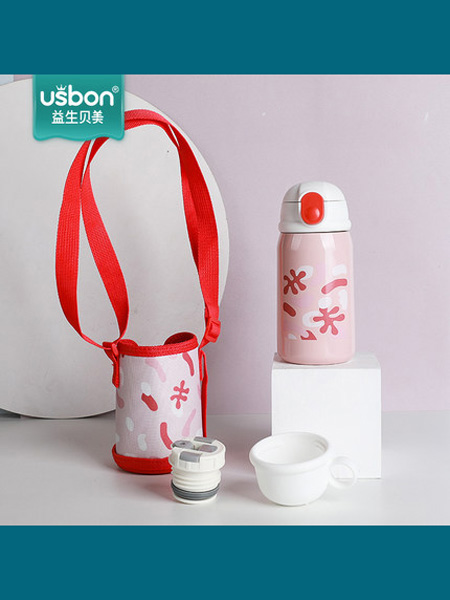 益生贝美婴童用品儿童保温杯带吸管两用婴儿外出防摔水壶幼儿园宝宝316不锈钢水杯