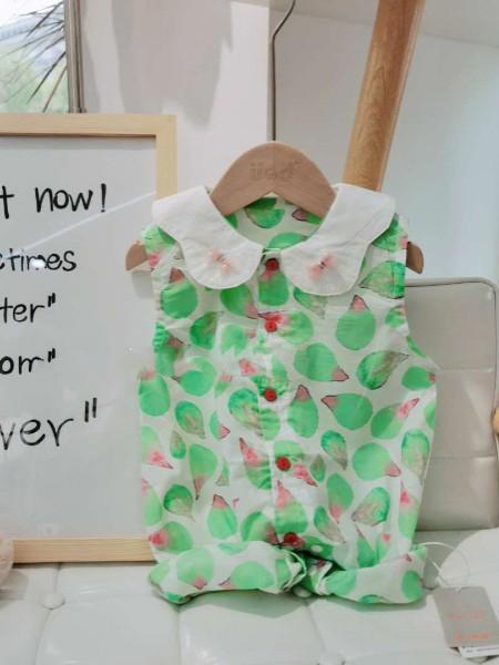 优米多童装品牌2020春夏翻领绿色连体裤
