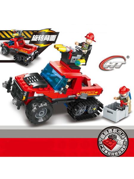 恒泰婴童玩具消防系列兼容乐高式积木玩具车 创意DIY拼插拼装男孩玩具